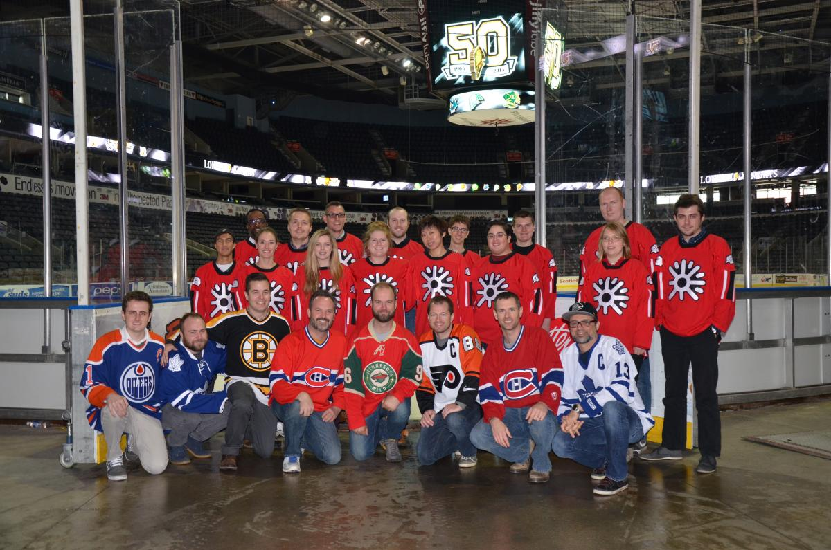 A picture of most of the Digital Echidna team, taken at the ice level of the Budweiser Gardens in London, ON.