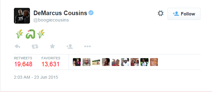 "An image of a Tweet that DeMarcus Cousins sent that refers to a ""snake in the grass"""