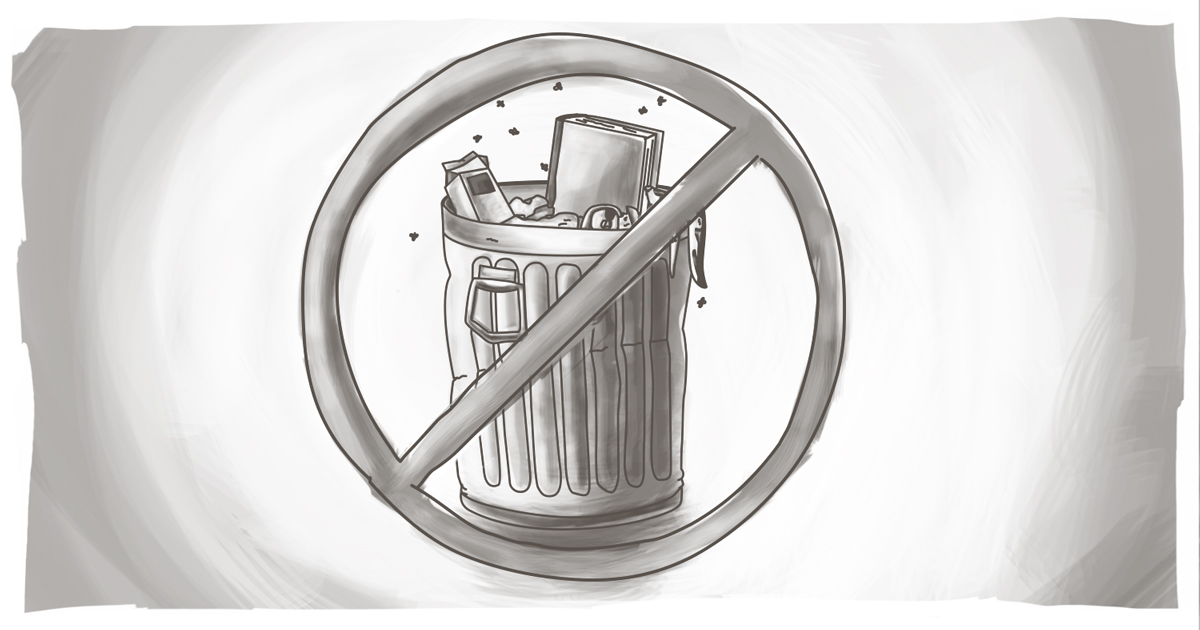 "An image of a garbage can with a ""no"" circle/slash around it representing ""no Spam."""