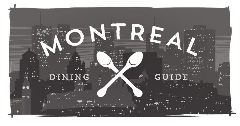 Two spoons and the words Montreal Dining Guide over top of the Montreal skyline.