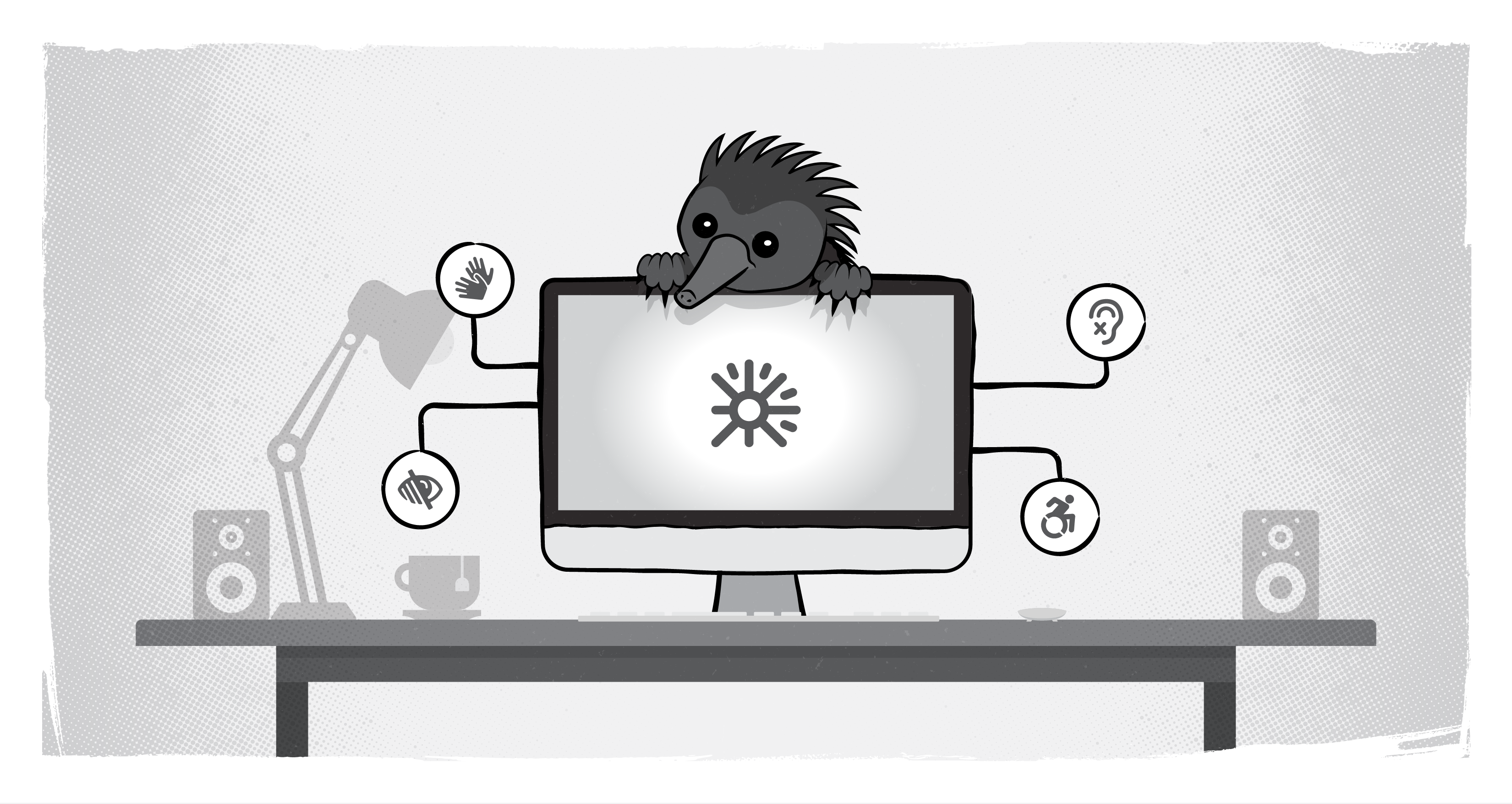 echidna perched over computer screen showing icons for deaf, low vision, etc.