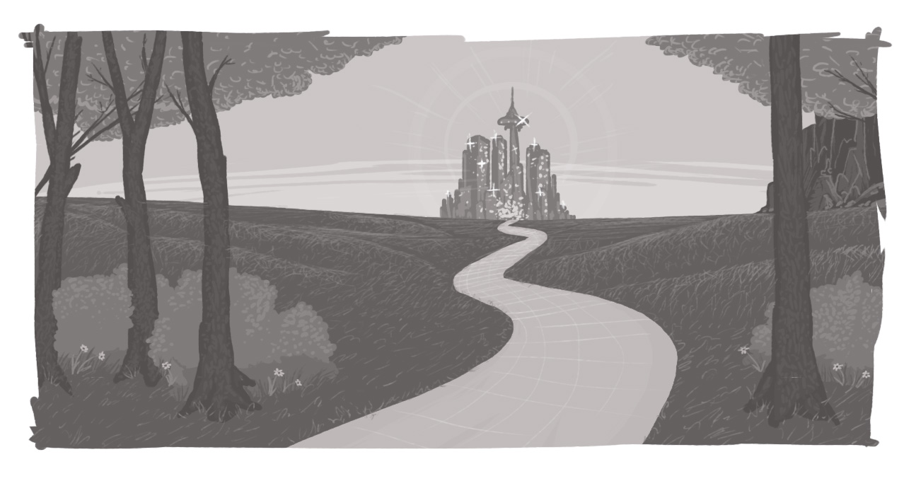Castle at the end of a long path