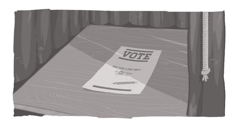 "An image of a ballot, with the word ""vote"" written on it."