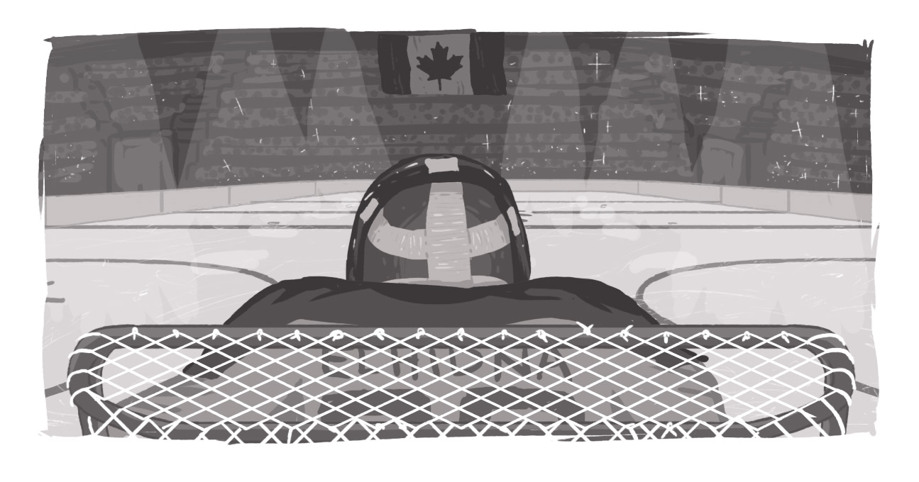 An image of a goalie looking out to the ice, with Echidna on his or her back.