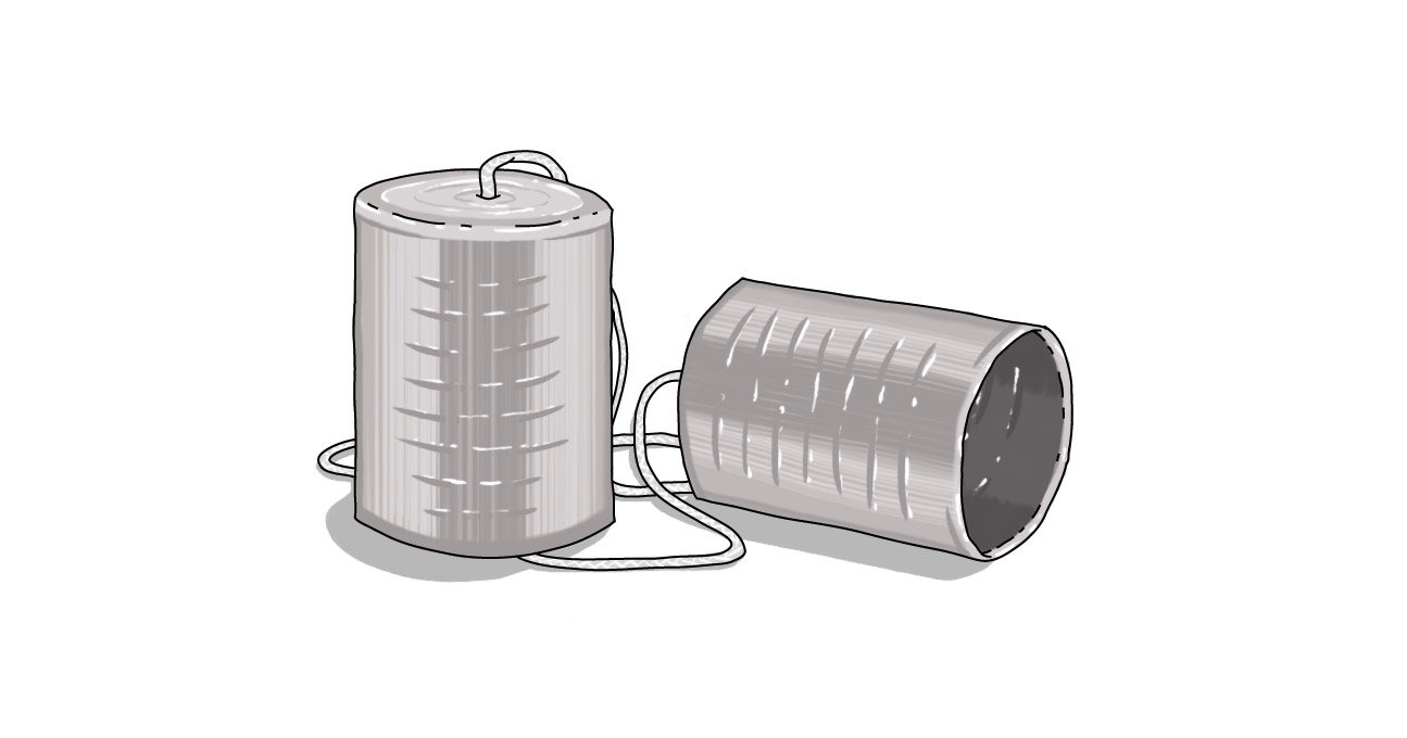 two tin cans tied together with string