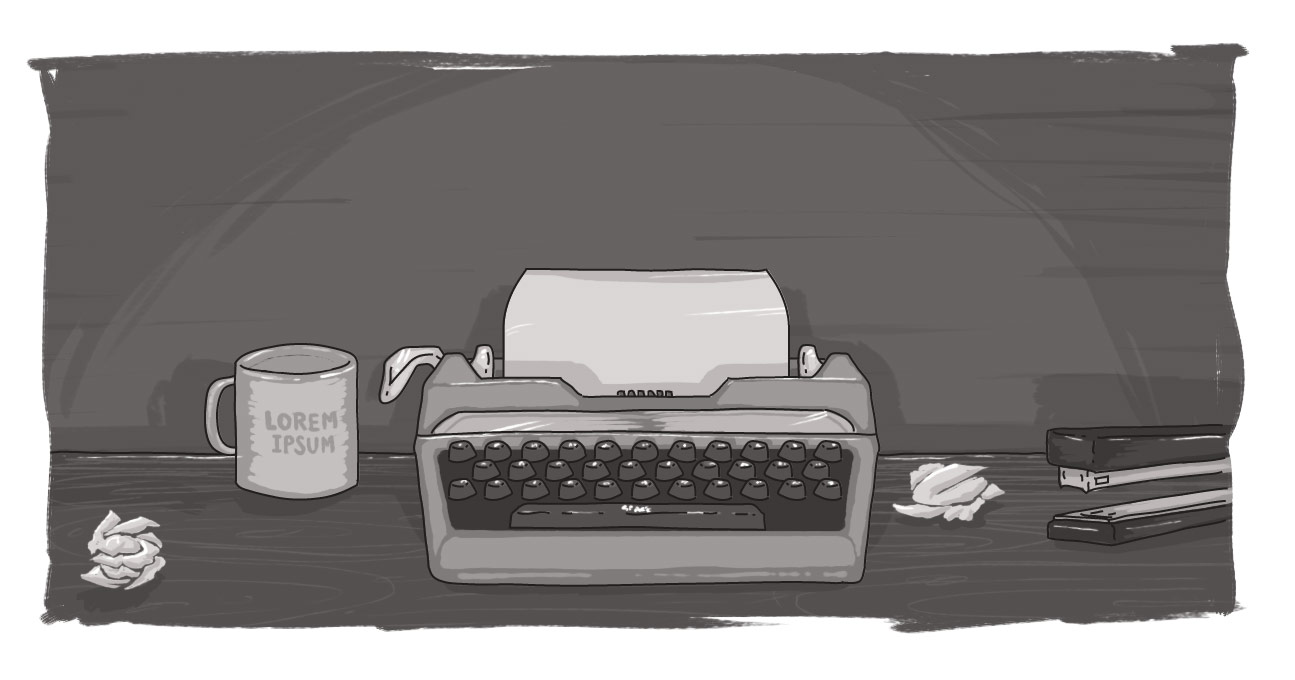 Typewriter with a blank page, empty coffee cup, and crumpled page on desk