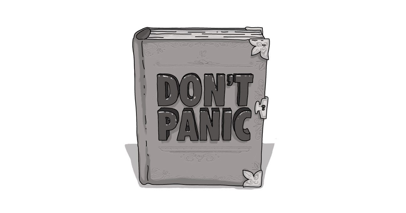 book with title don't panic