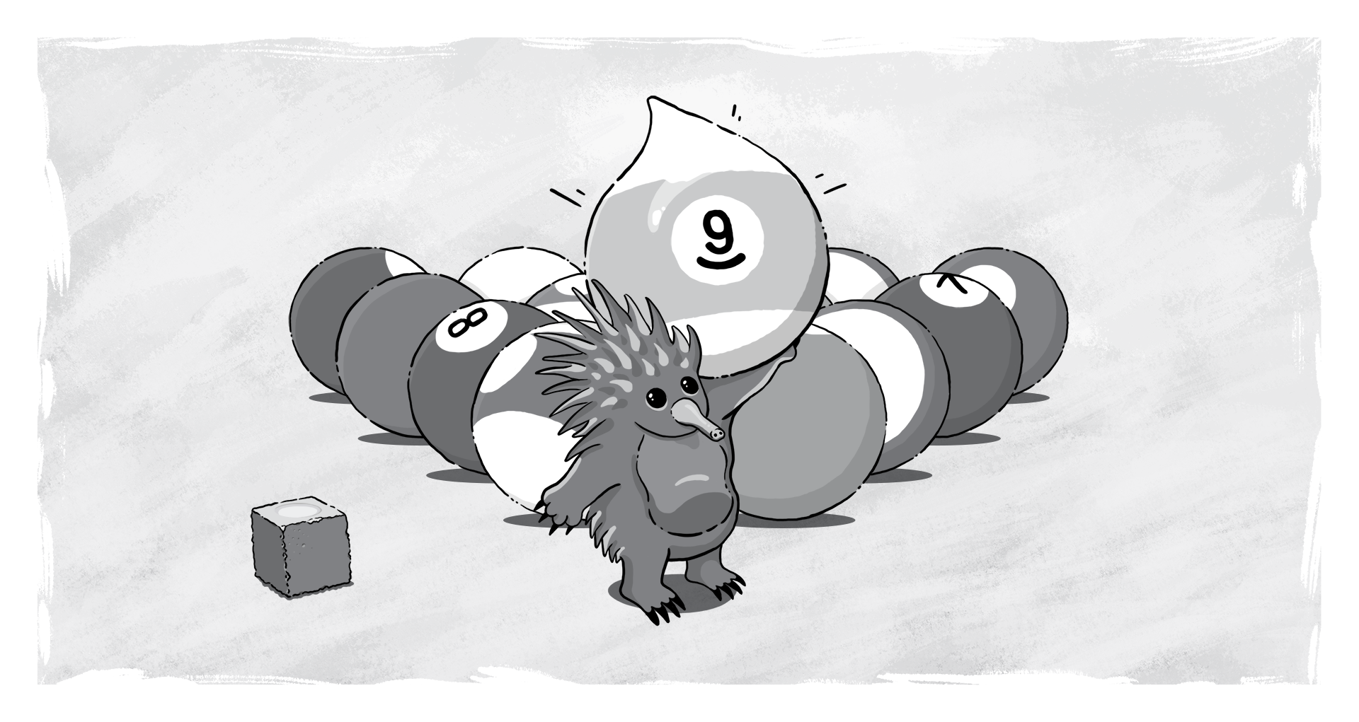 Echidna with Drupal 9 ball from a game of pool