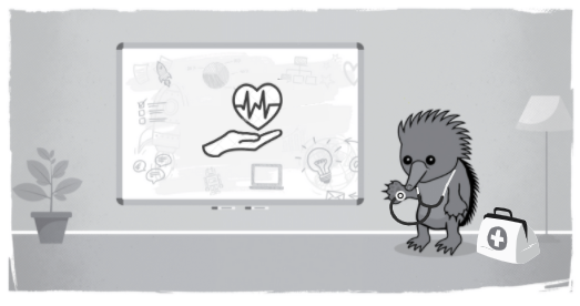Echidna dressed as doctor beside whiteboard with health care symbols drawn on it
