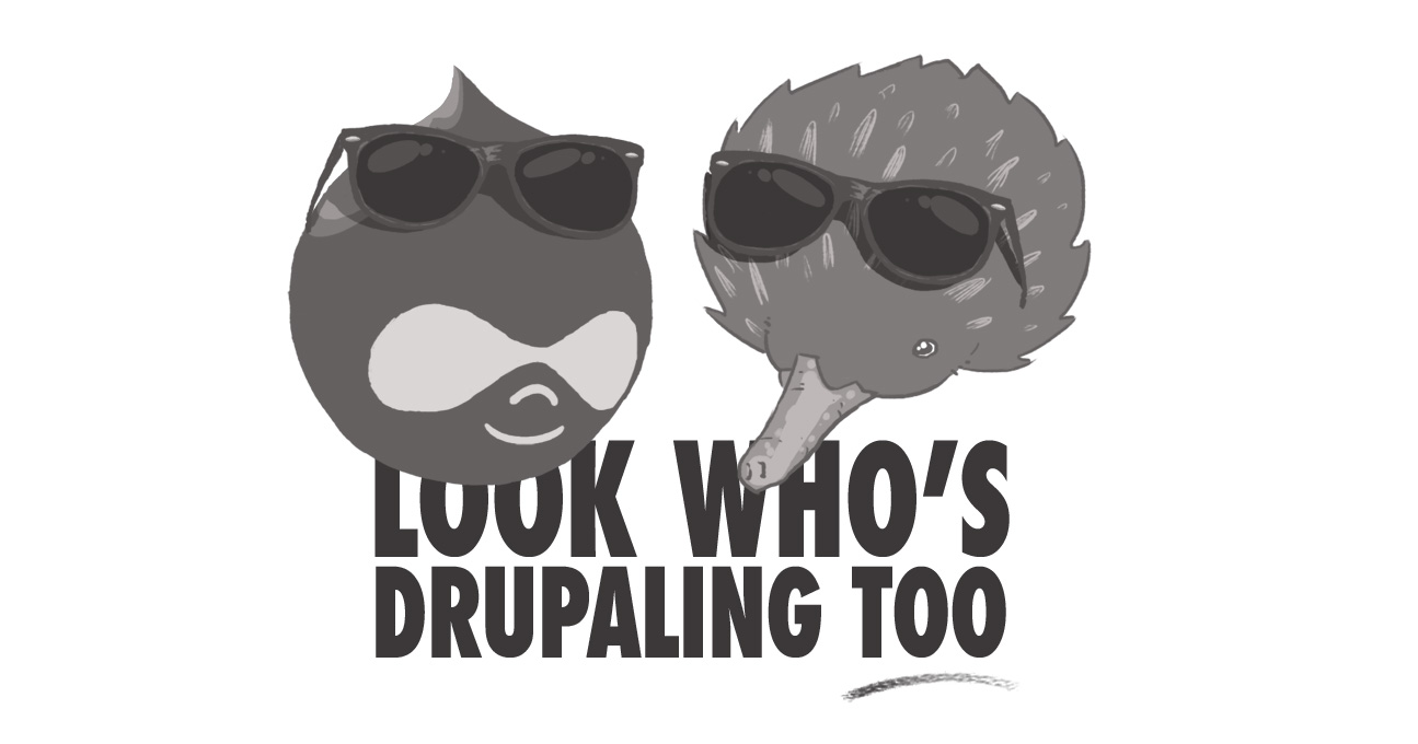 Drupal drop and an echidna with sunglasses