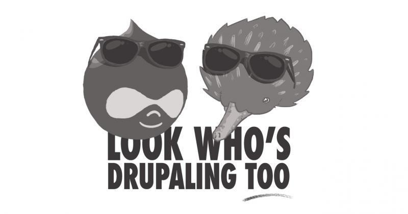 A Drupal Drop and an Echidna emulating the Look Who's Talking Too poster.