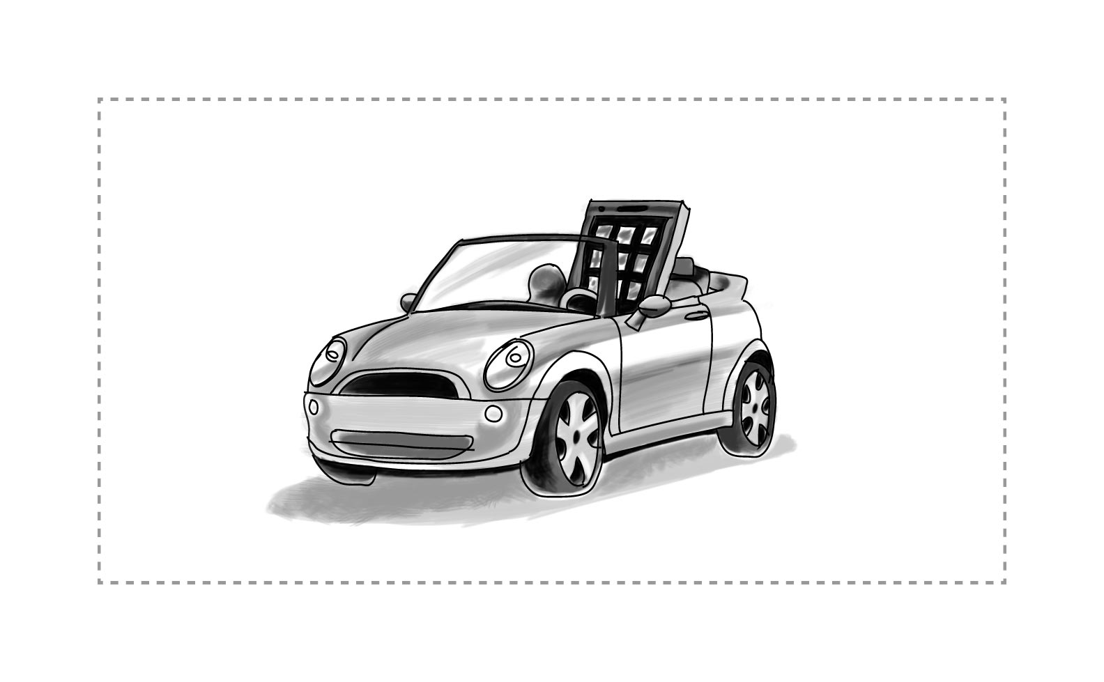 An image of a mobile device 'driving' a car.