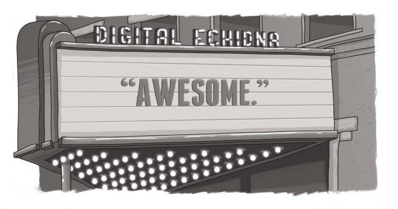 "A marquee with the world ""Awesome"" on it and Digital Echidna above."