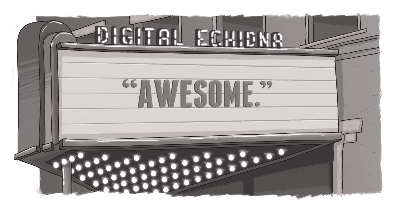 Sketch of Digital Echidna theatre marquee with the word Awesome