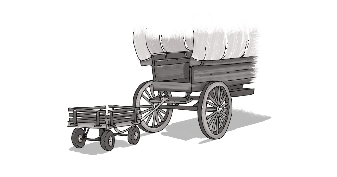 An image of a chuckwagon pulling a cart.