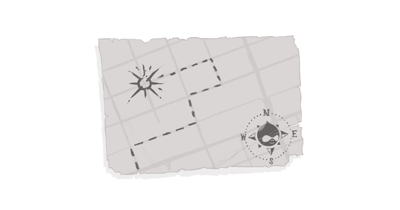 sketch of map with Drupal logo as compass