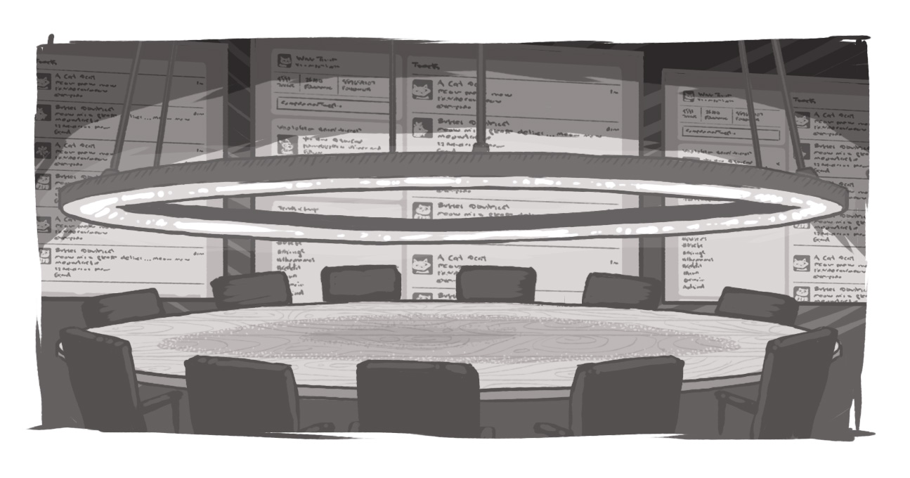 illustration of round table surrounded by chairs with one wall flanked with tv screens