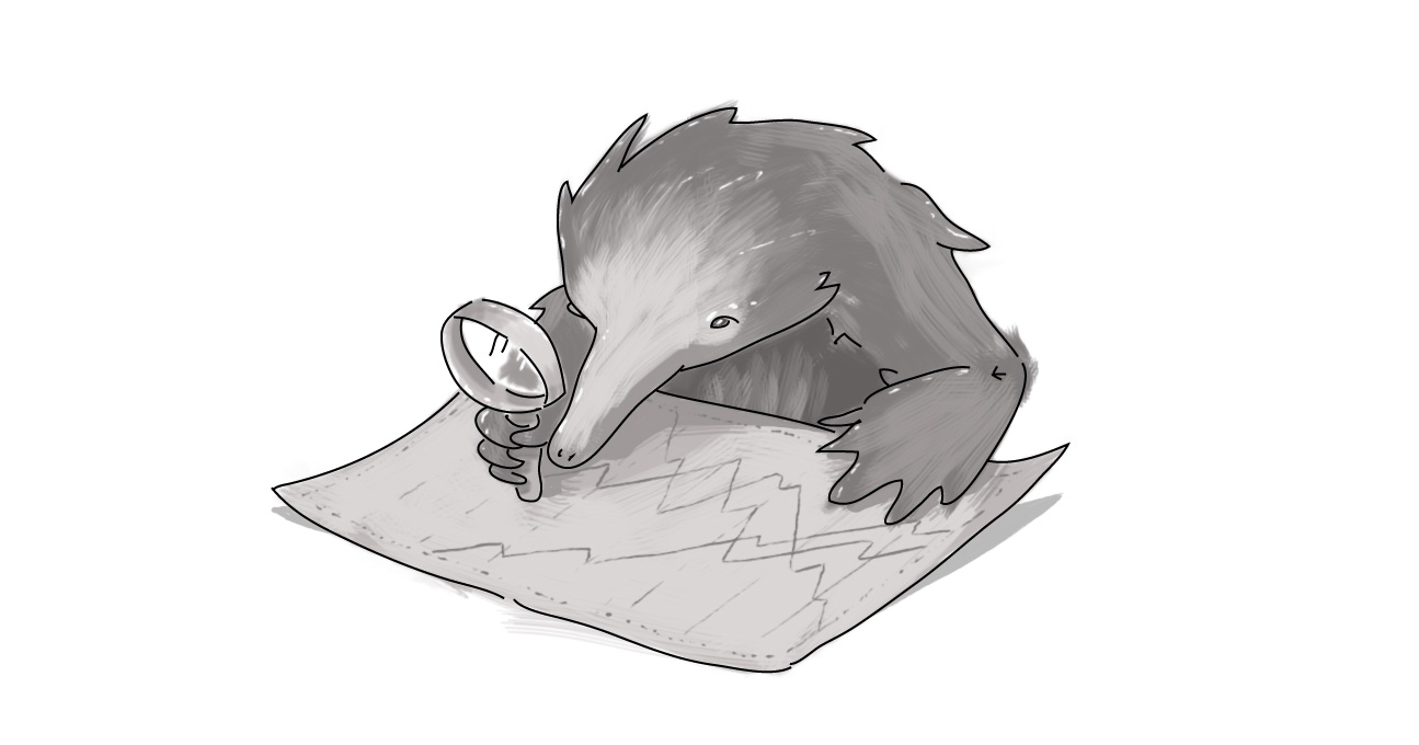 echidna with magnifying glass looking at map