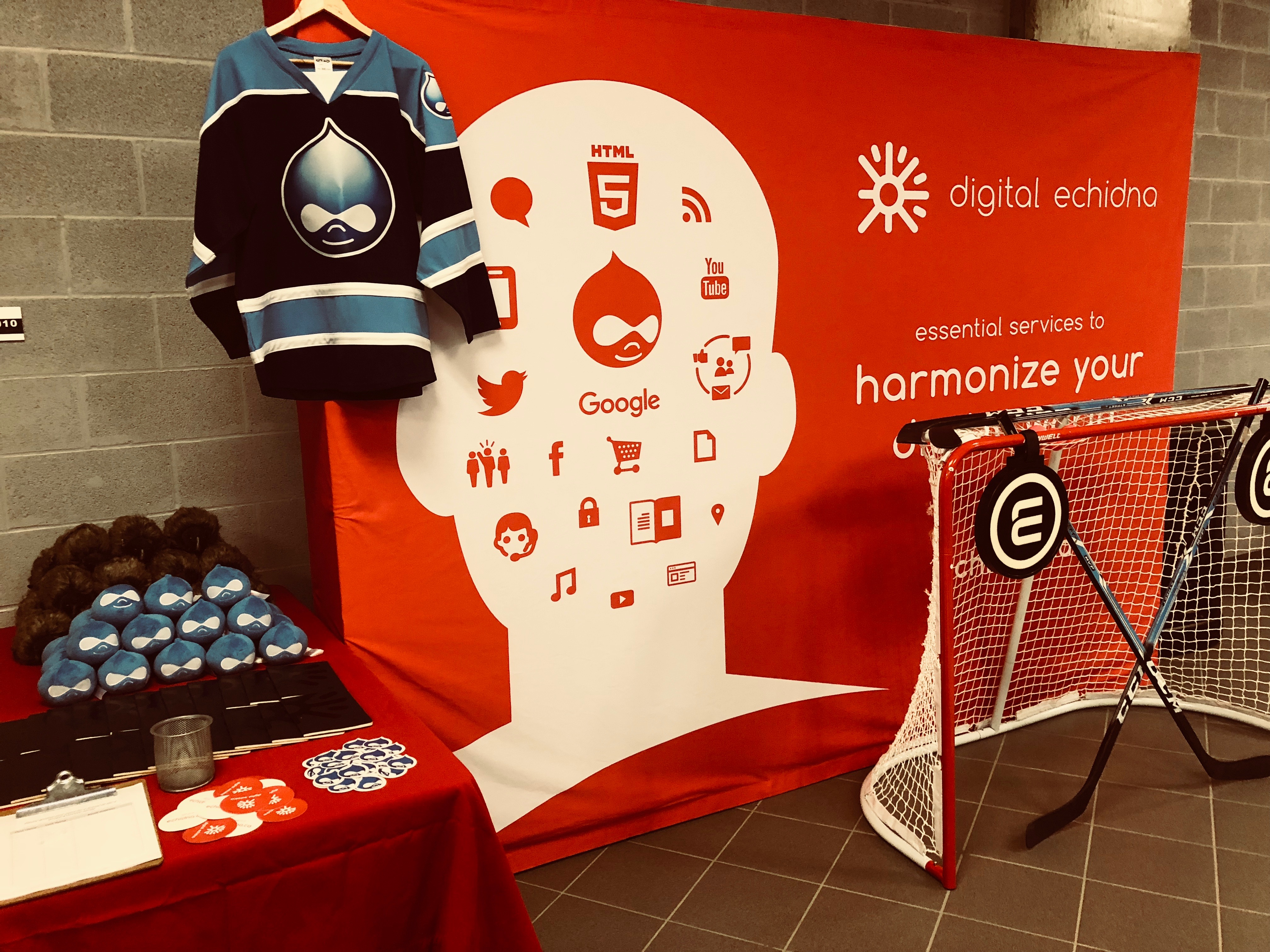 The Digital Echidna trade show booth, with banner, jersey, and hockey net.