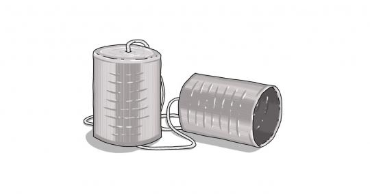 An image of two cans tied together with a piece of string, representing a rudimentary communications device.