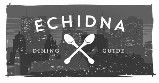 "An image of a city, with a pair of spoons overlaid, reading ""Echidna Dining Guide."""