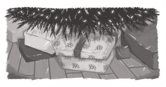 An image of gifts under a Christmas tree, wrapped in Echidna-logo wrapping paper.