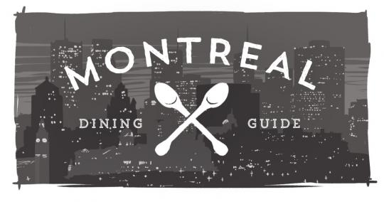 An image of the Montreal skyline with the phrase Montreal Dining Guide on it and crossed spoons.