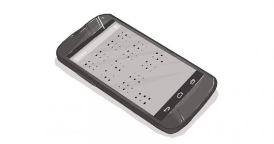 An image of a smart phone with Braille across the screen.