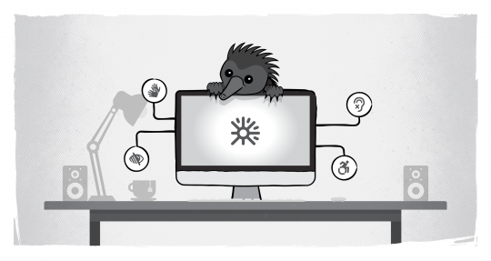 Echidna on computer with accessibility icons