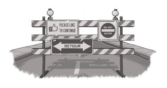 An image of a road obstruction with directional arrows and other traffic signs.