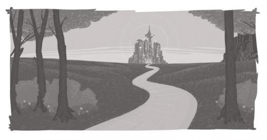 An image of a winding road, leading off to a glittering palace in the distance.