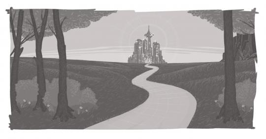 An image of a road leading to a castle on the horizon.