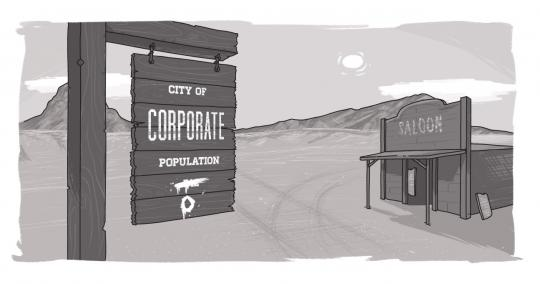 An image of a ghost town with a corporate blog sign on it.