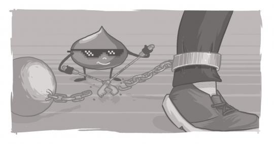 A Drupal Drop cutting a chain that's tethering someone's ankle to an iron ball.