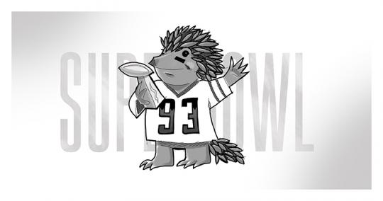 An image of an Echidna holding the Lombardi trophy handed out at the NFL's Super Bowl.
