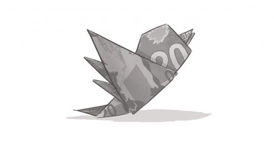 An image of a Twitter bird icon, created by a folded $20 bill.