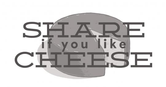 "A wheel of cheese, with the text, ""Share if you like cheese"" symbolizing the ineffective and empty engagements that some companies use."