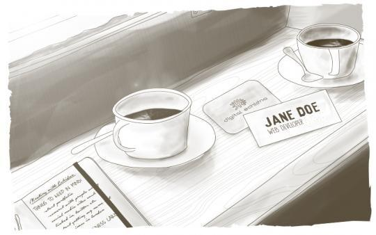 two cups of coffee name tag on desk