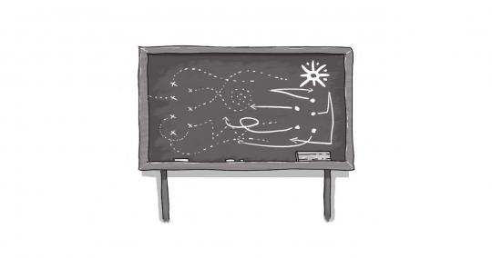 An image of a blackboard with writing on it.