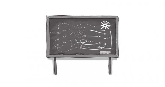 An image of a blackboard with images on it.
