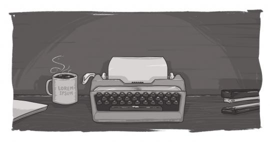 Black and white image of a typewriter and mug of coffee