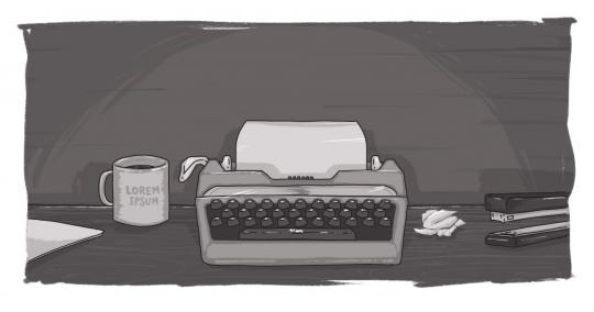 An image of a typewriter next to a Digital Echidna coffee mug