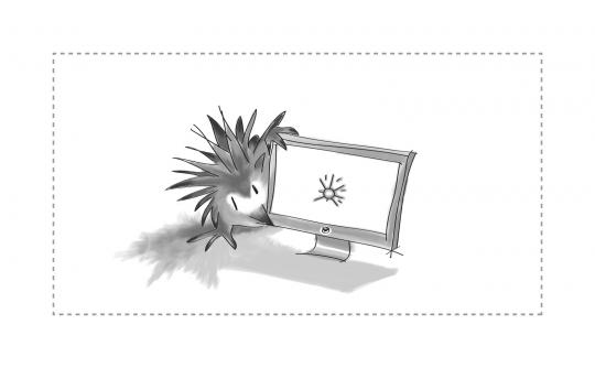 An image of an echidna looking at a Web page on a monitor.