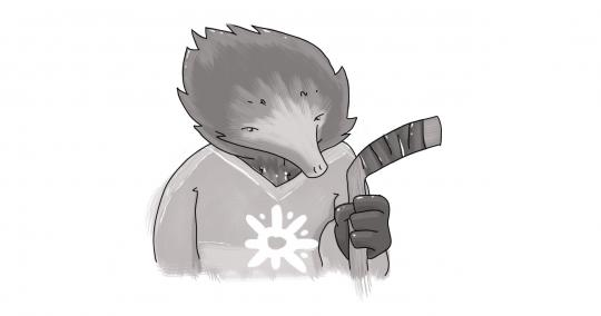 echidna in a hockey sweater holding hockey stick