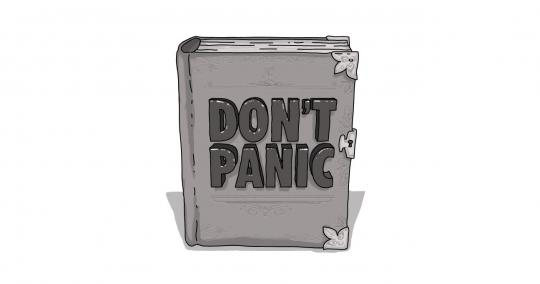 "An image of a book with the words ""Don't Panic"" on it."