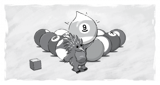 billiard balls echidna holding up number 9 ball