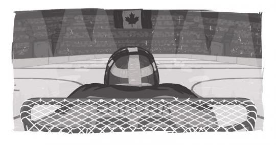 A goalie with Echidna on the nameplate, looking across the ice