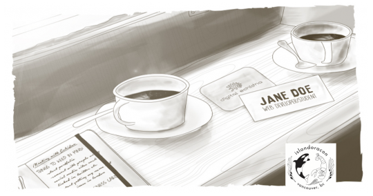 sketch of conference table with coffee mug, nametag, notebook