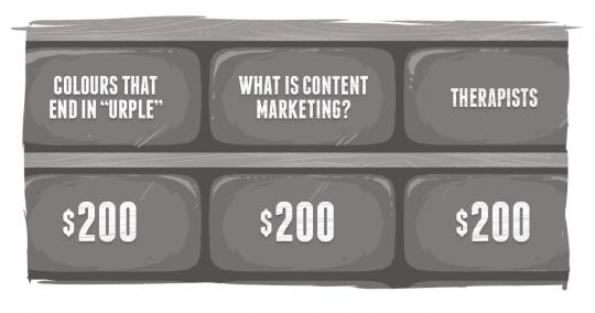 "A Jeopardy board, including a category, ""What is Content Marketing?"""