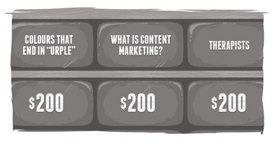 An image of a Jeopardy board, with a category What is Content Marketing?
